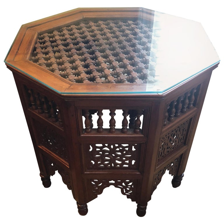 Moroccan Gl Top Carved Wood End Or Side Table For
