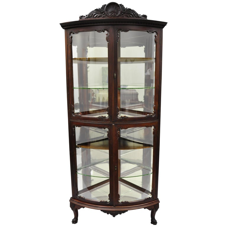 Antique Mahogany Victorian Bow Front Glass Corner Curio Cabinet Display  Vitrine For Sale - Antique Mahogany Victorian Bow Front Glass Corner Curio Cabinet