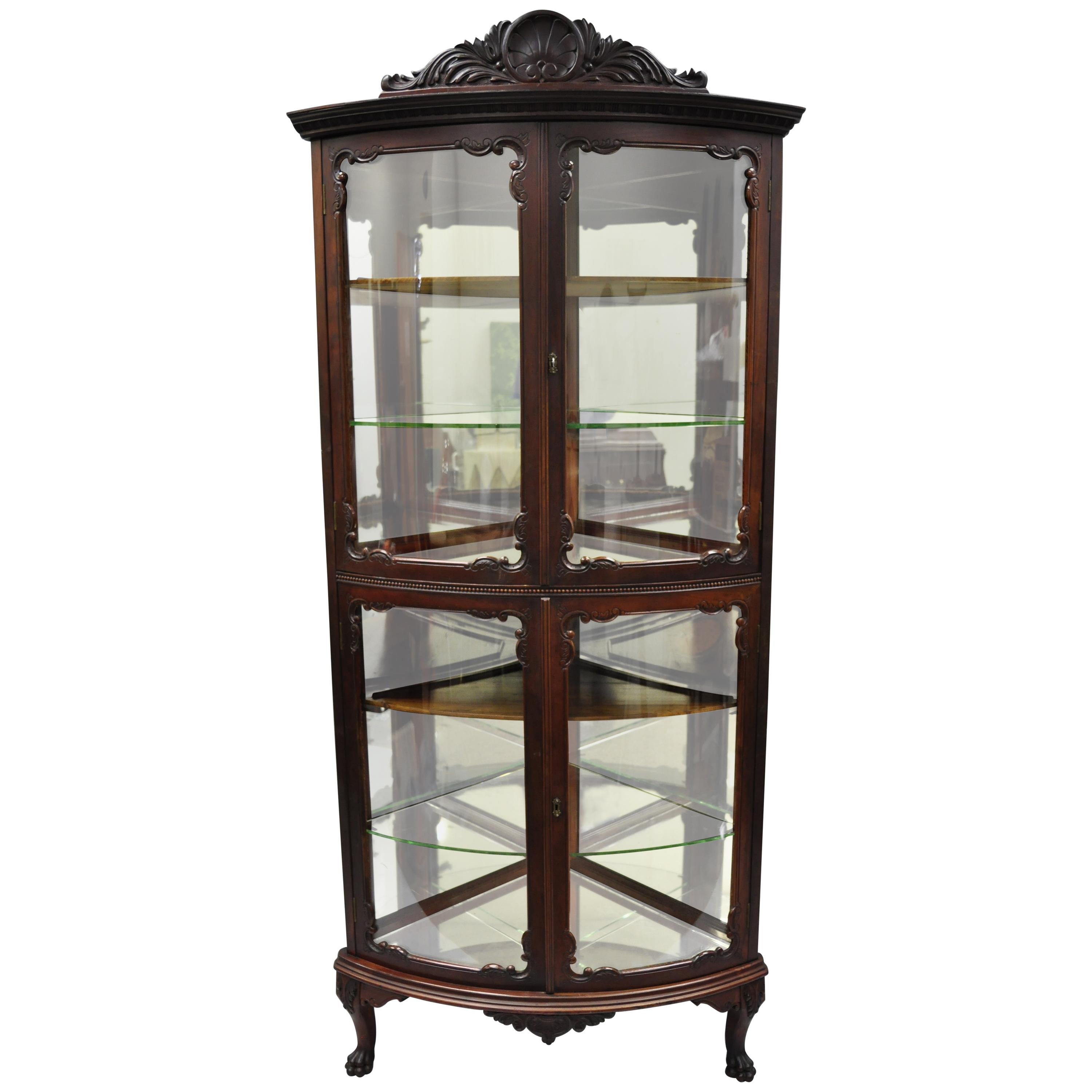 Antique Mahogany Victorian Bow Front Glass Corner Curio Cabinet Display  Vitrine For Sale