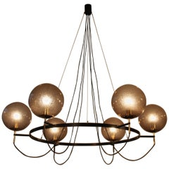Exclusive Giant Glassball Chandelier by Limburg, Germany, 1960s