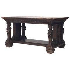 Italian Renaissance Style (19th Century) Library Style Table Desk
