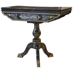 19th Century Chinese Export Black Lacquer, Gilt and Figural Painted Game Table