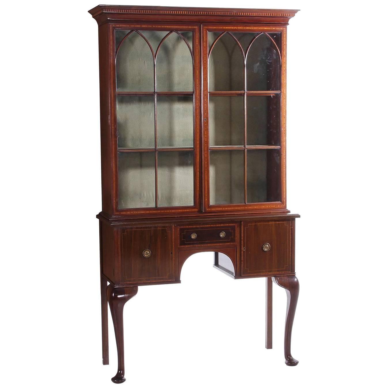 English Mahogany Queen Anne Style China Or Curio Cabinet For Sale