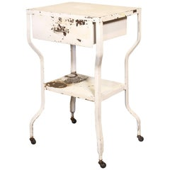 Vintage Medical Side Table or Rolling Bar Cart