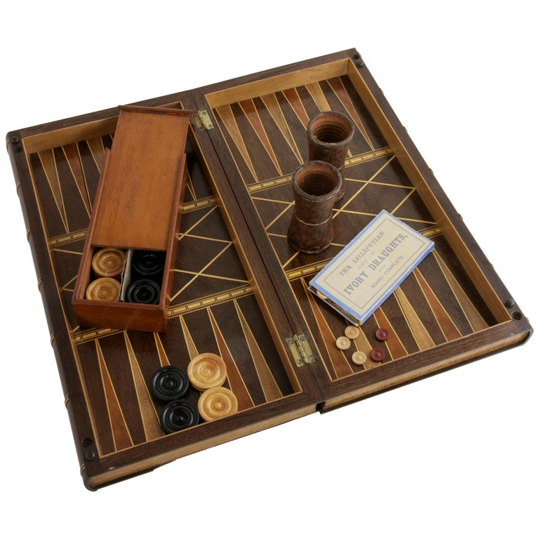 Hinged Marquetry Game Box for Chess, Checkers, Backgammon, Stacked Books Form