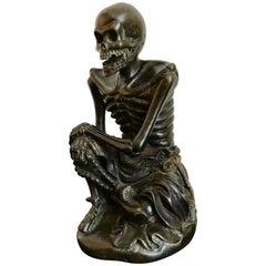 Japanese Bronze Skeleton in Monks Robes