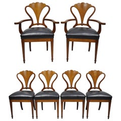 Mahogany Biedermeier Neoclassical Style Shell Fan Back Dining Chairs Set of Six