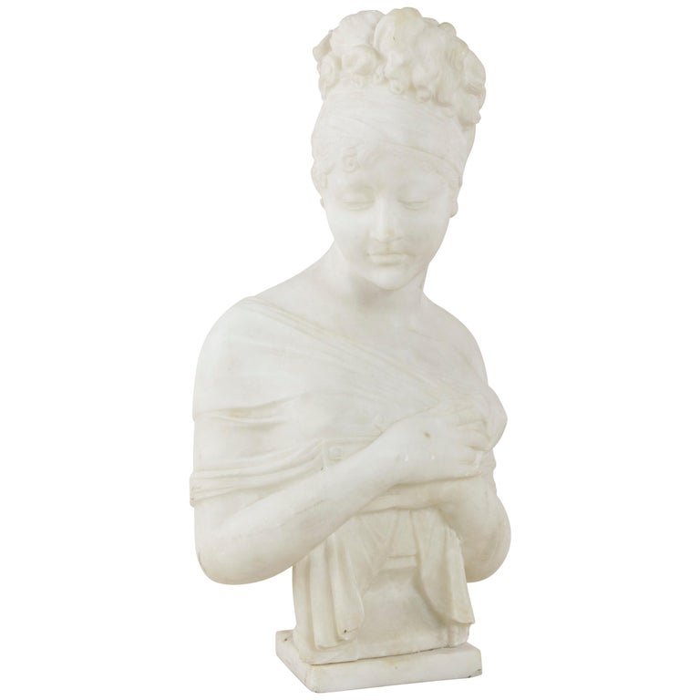 French Marble Bust or Sculpture of Madame Juliette Recamier, circa 1900
