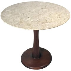 Botticino Marble Pedestal Dinette Cafe Entry Table in the Manner of Nanna Ditzel