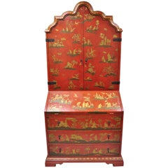 Baker Red Chinoiserie Japanned 1593 Venetian Secretary Desk Collectors Edition