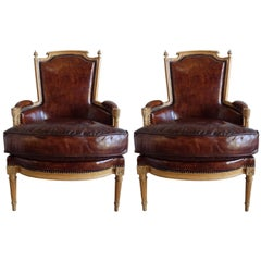 Louis XVI Style Leather Upholstered Armchairs, Pair