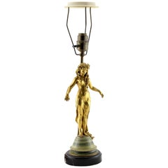 Gilt Lamp Base with Female Art Nouveau Figure