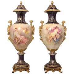 Lovely Pair of Late 19th Century Gilt Bronze Mounted Sèvres Style Vases