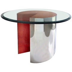 """1980s Leon Rosen for Pace """"Pie Table"""" in Chrome and Lacquered Wood"""