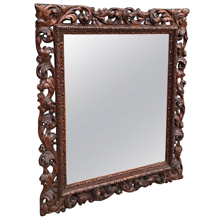 Good Size Baroque Style Carved Oak Wall Picture Frame with Bevelled Mirror