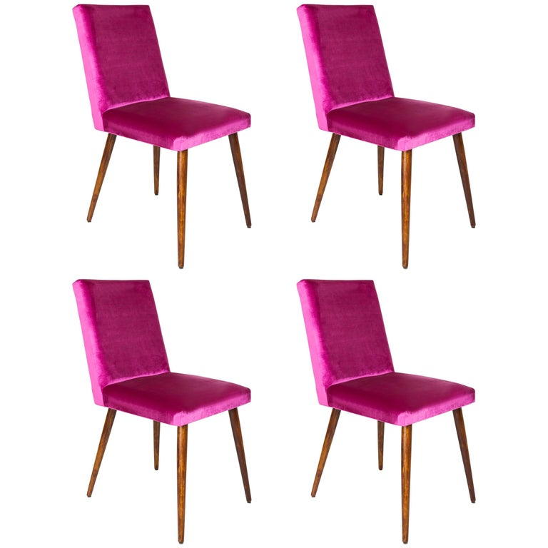 Set of Four 20th Century Magenta Pink Velvet Chairs, 1960s