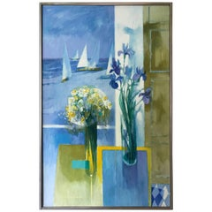 Signed Paul Zimmerman Still Life Original Oil Painting Amethyst Iris and the Sea