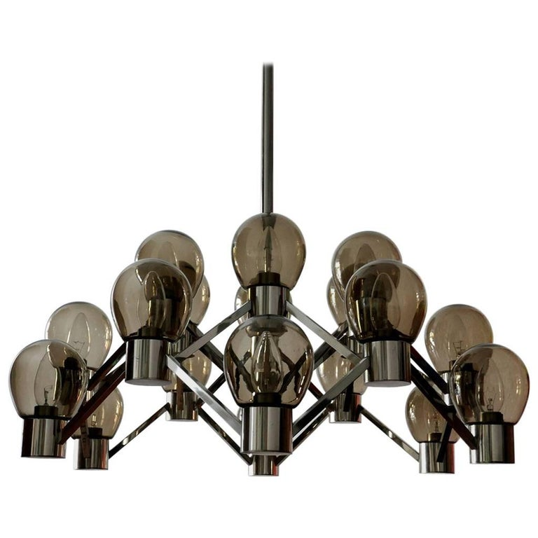 Italian Vintage 18-Arm Sculptural Chandelier Glass and Chrome Pendant, 1960s