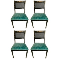 Black Japanned Gold Chinoiserie Cane Chairs, Set of Four