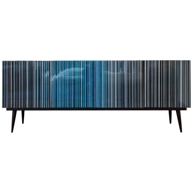 Retro Style Buffet Credenza, Barcode Design in Colored Glass, Shades of Blue