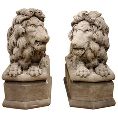 Pair of Opposing Stone Lions Highly Detailed