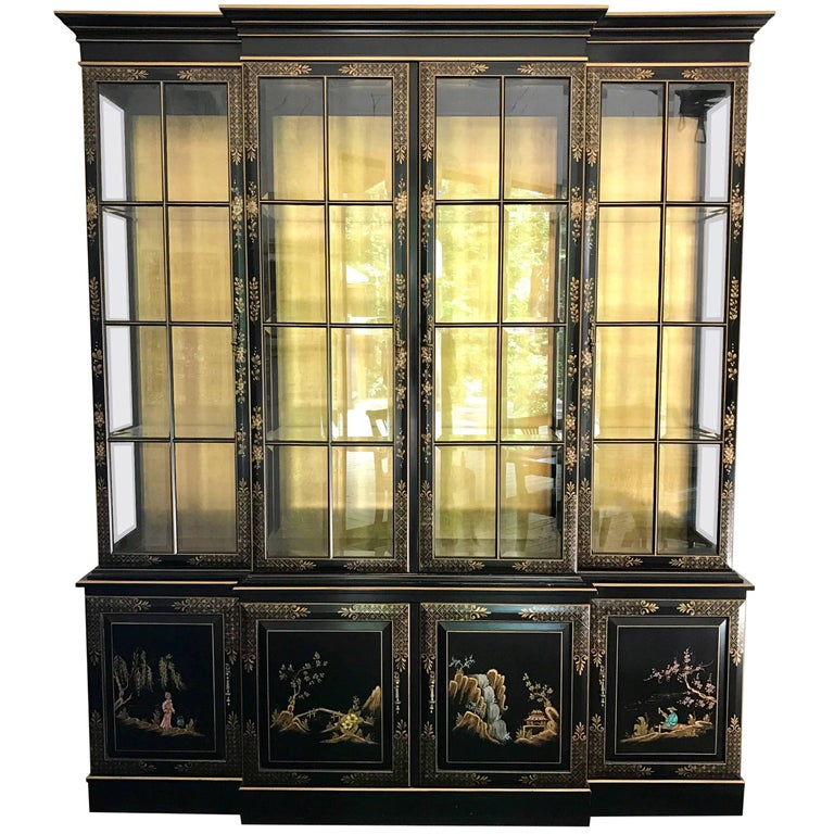 Chinoiserie Black Japanned Lighted Breakfront China Cabinet