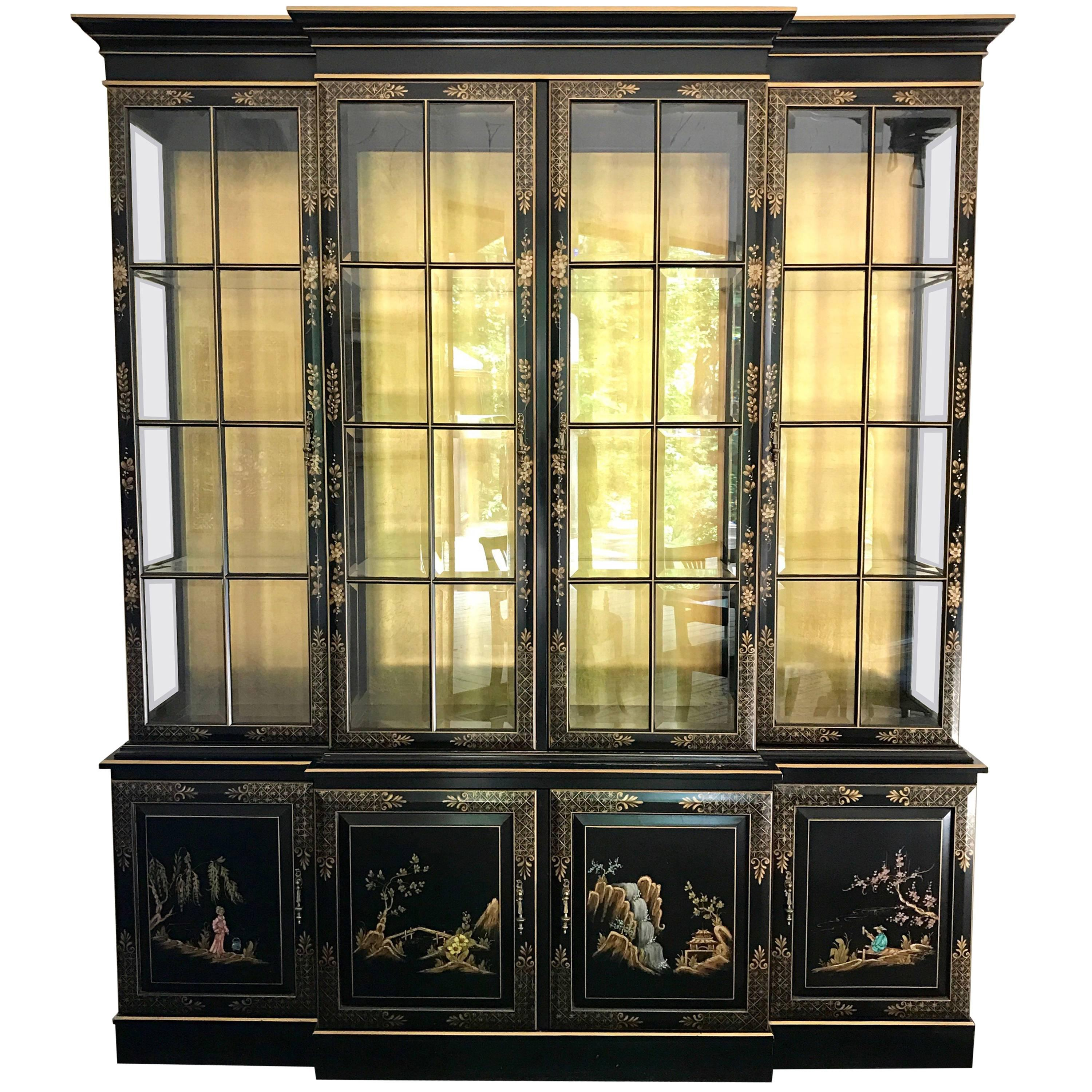 Chinoiserie Black Hand Painted Lighted Breakfront China Cabinet Union  National