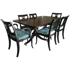 Mid Century Chinoiserie Black and Gold Dining Set Table Six Chairs