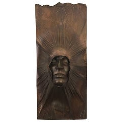 William Ludwig Signed Polished Patinated Bronze Sculpture Relief Emerging Face