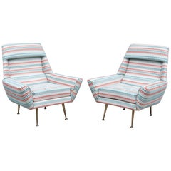 Pair of 1950s Italian Armchairs Reupholstered in Villa Nova Fabric