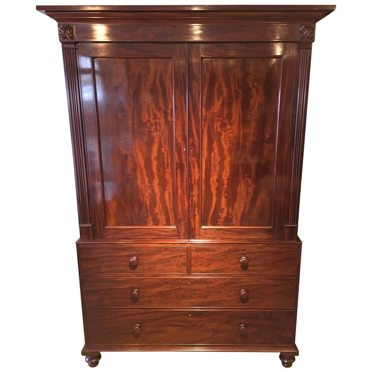 Georgian Mahogany Linen Press