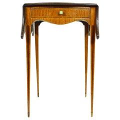 Sheraton Style, Satinwood and Flame Mahogany Serpentine Pembroke Table