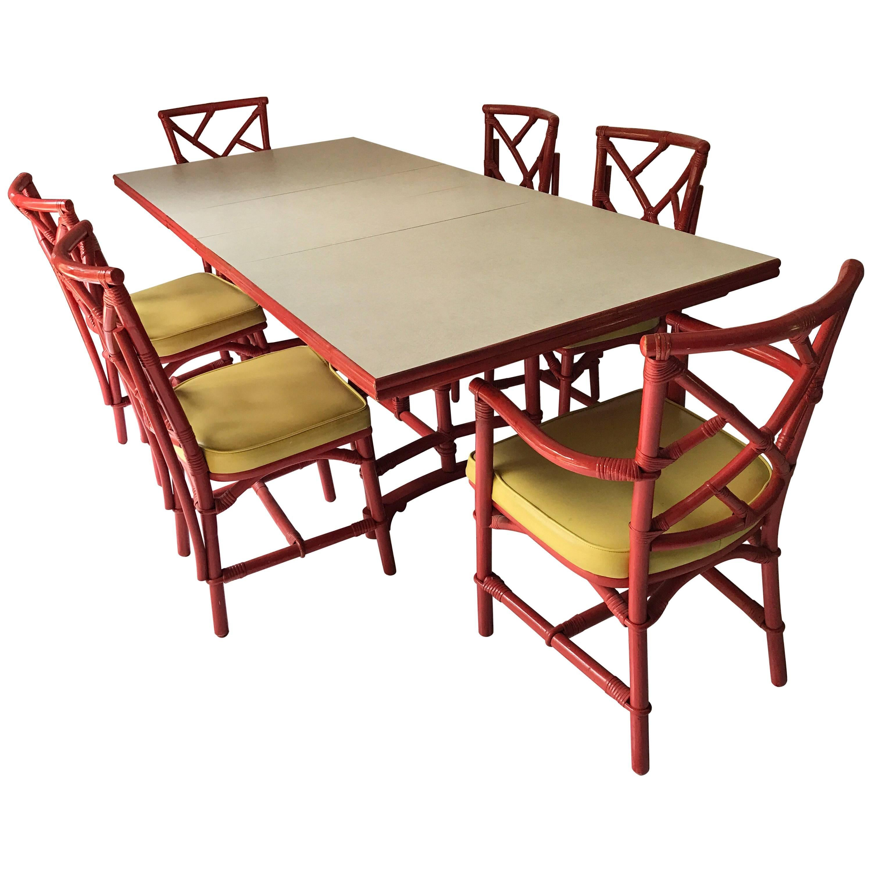 Mid Century Red Bamboo Chinese Chippendale Dining Set, Table And Six Chairs  For Sale