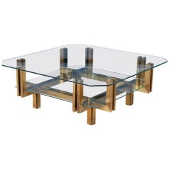 1970s Vintage Italian Brass and Glass Coffee Table in the Style of Romeo Rega
