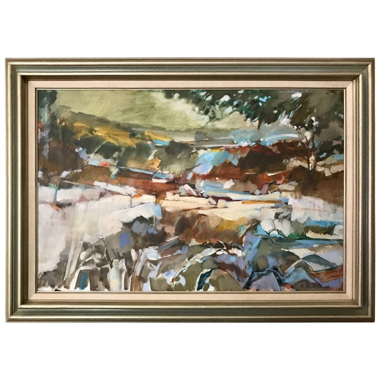 Midcentury Abstract Landscape Original Signed Oil Painting B. Levin