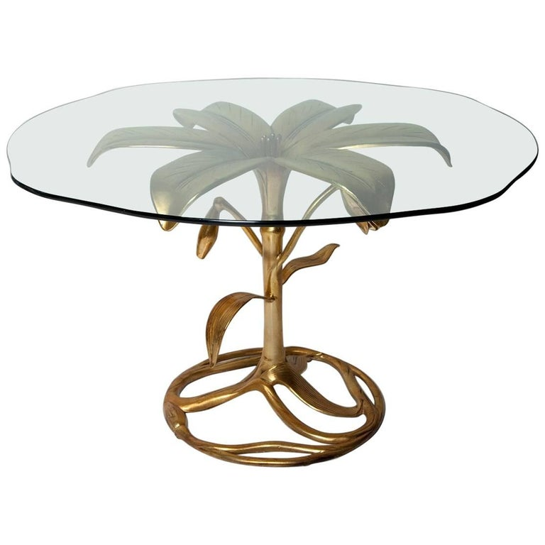 "1960s Patinated Gold Arthur Court Cast Aluminium ""Lily"" Dining or Centre Table For Sale"