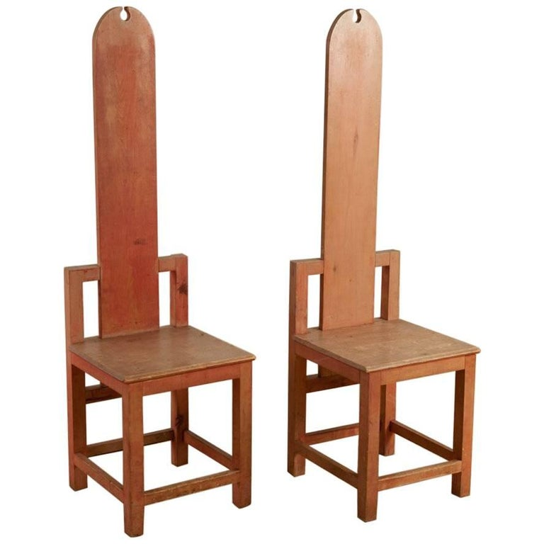 Unusual Arts & Crafts Chairs, circa 1910, Sweden, Currently on Exhibit