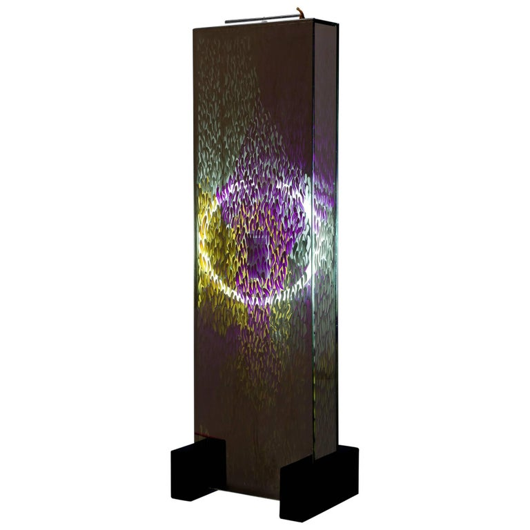 Floor Lamp Contemporary Style Sculptural Mirror Purple