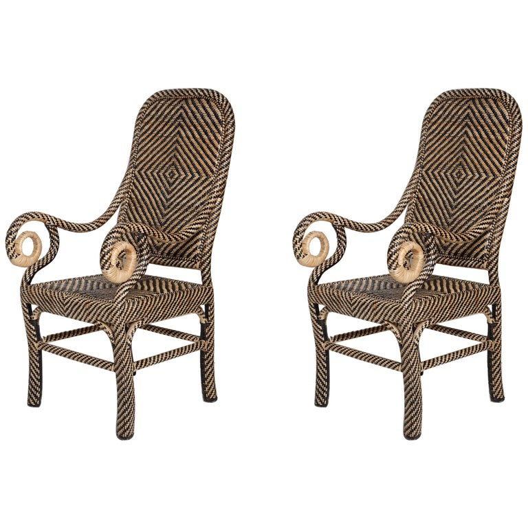 Pair of Woven Rattan Armchairs For Sale