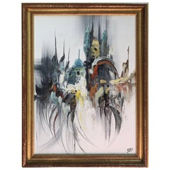 Mid-Century Modern Abstract Signed Osly Oil on Board Original Painting Art