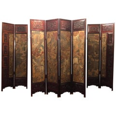Unusual Eight Panel Chinese Coromandel Screen circa 1700-1800 with Carved Frame
