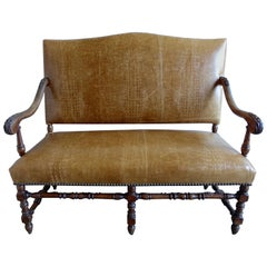 19th Century English Walnut Leather Upholstered Bench
