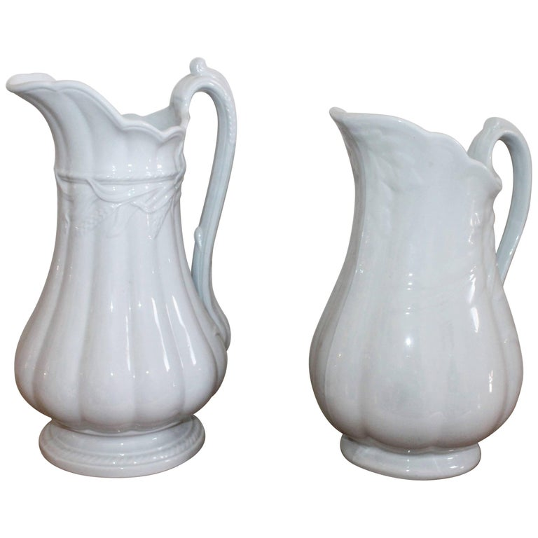 19th Century Ironstone Wheat Water Pitchers For Sale