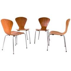 Midcentury Set of Four Hourglass Veneer Danish Chairs