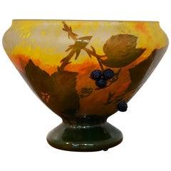 Daum Nancy Cameo Glass Vase with Applied Blackberries