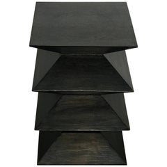 Postmodern Blackened Zig Zag Side Table or Pedestal