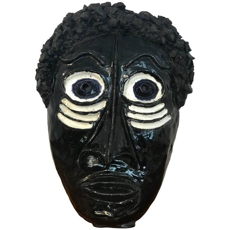 Midcentury Pottery African Mask in the Manner of Wiener Werkstatte