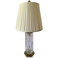 Vintage Crystal and Brass Mid-Century Modern Parsons School Table Lamp