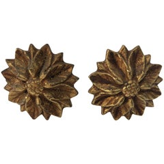 Gorgeous Set of 2 Antique French Brass Curtain Rod Ends in Sunflower Design