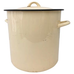 Vintage French Enamelware Large Yellow Pot with Its Original Black Trimmed Lid